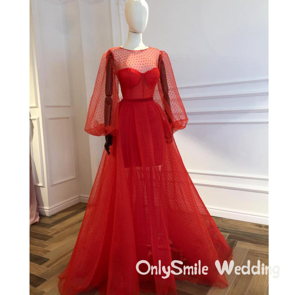 Robes Formales rouge à manches longues robes formelles Illusion sur mesure Tulle voir à travers Occasion spéciale robes de soirée pas cher