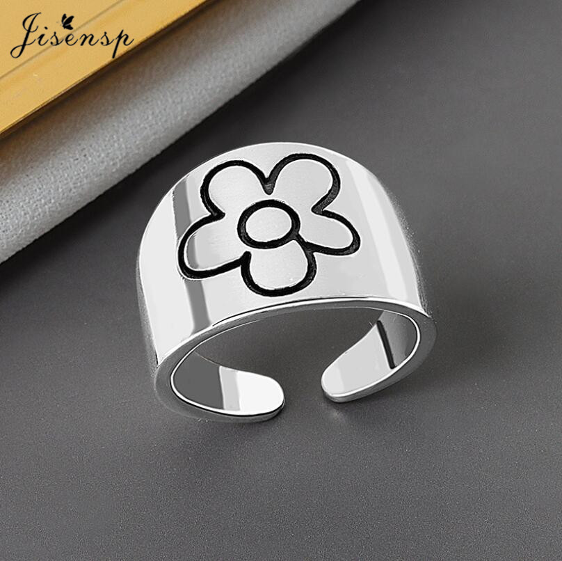 Jisensp Bohemian Fashion Give You A Little Red Flower Finger Ring Simple Creative Flower Adjustable Rings for Women Girls