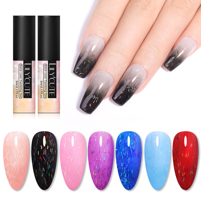 LILYCUTE Holographic Glitter Sequins Irisated Striped Gel