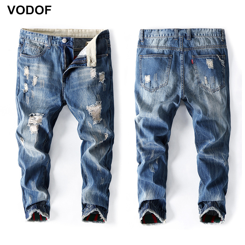 VODOF Brand Summer Ripped Denim Jeans Big Size Loose Fit Baggy Jogger Casual Trousers Men Plus Size 42 44 46 48 Haren Pants