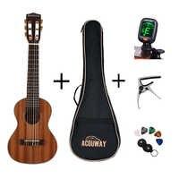 Acouway 28 pulgadas guitarra Guitalele Guitarlele ukulele Sapele cuerpo 6 cuerdas 18 trastes clásico mando opcional con bolsa DE SINTONIZADOR DE capo