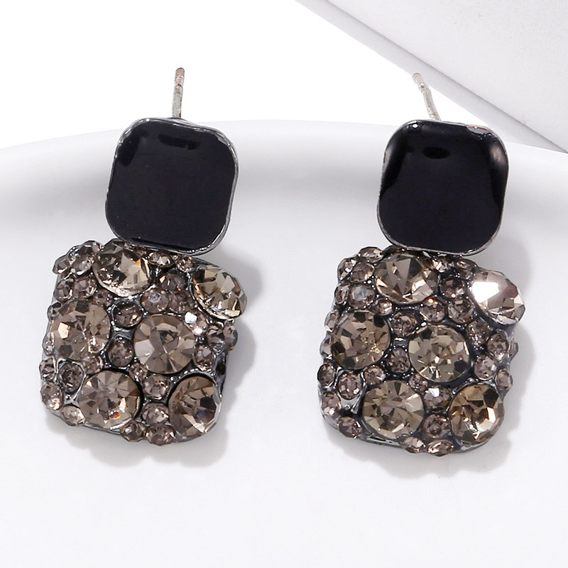 Korean Statement Geometric Square Black Grey Crystal Drop Earrings For Women Fashion Jewelry Oorbellen Brincos Aretes De Mujer