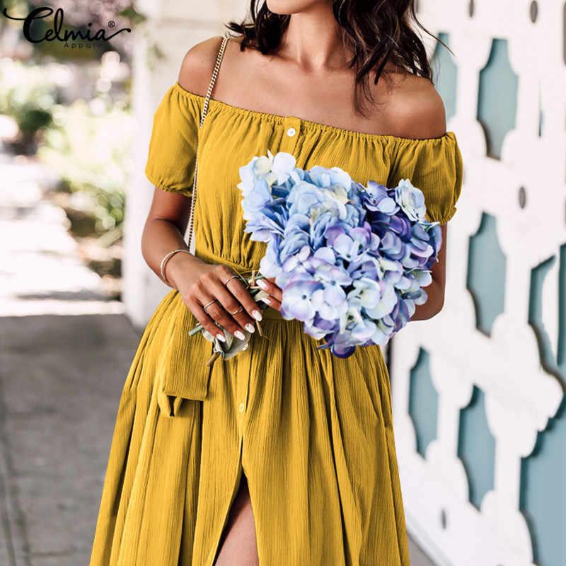 Celmia 2020 夏ボヘミアンマキシドレス女性フリルロングサンドレスセクシーなオフショルダー半袖ボタンパーティー vestidos mujer