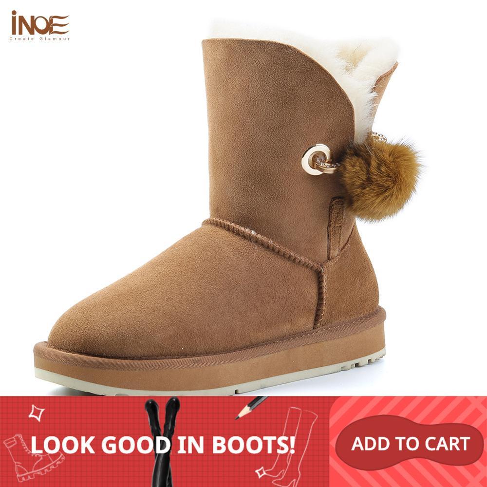 Inoe cristal strass pom-pom broche feminino botas de inverno sapatos de pele de raposa bola de pele de carneiro camurça de couro de lã forrado botas de neve