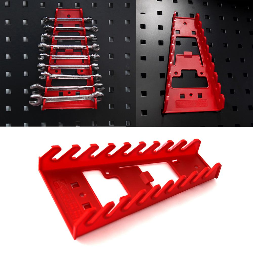 1 Pcs 9 Slot Wrench Holder Red Plastic Wrench Rack Standard Organizer Holder Storage Tool Wrenches Keeper