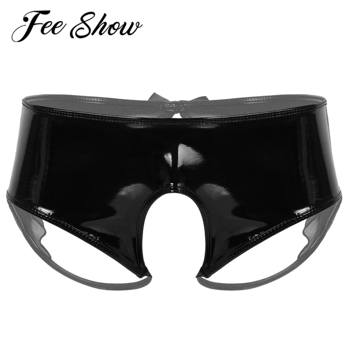 Hommes Wetlook Faux cuir deux symétrique moitiés Boxer Sous-vêtements Culotte