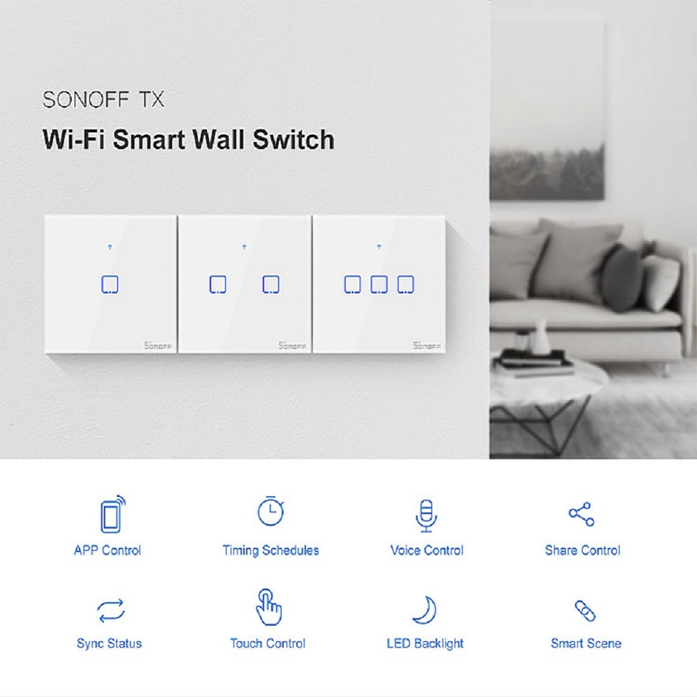 Image 2 - New TX SONOFF T0 EU/UK/US 1/2/3 Gang Wall Light Switch Smart Wifi Panel Wireless Remote Touch/Ewelink/Voice Control Google HomeHome Automation Modules   -