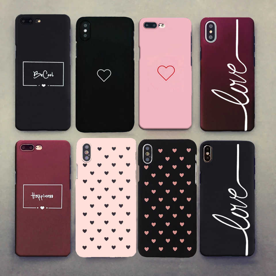 For iphone 11 X 6 7 8 5 5s se Case For Fundas iphone 6s 6 s XS Max XR 8 7 Plus Case Cover Hard Heart Love Black Pink Phone Case
