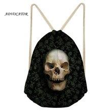 Skull 3D Design Men Drawstring Backpack Waterproof Pocket for Boys and Girls Storage Package Skull