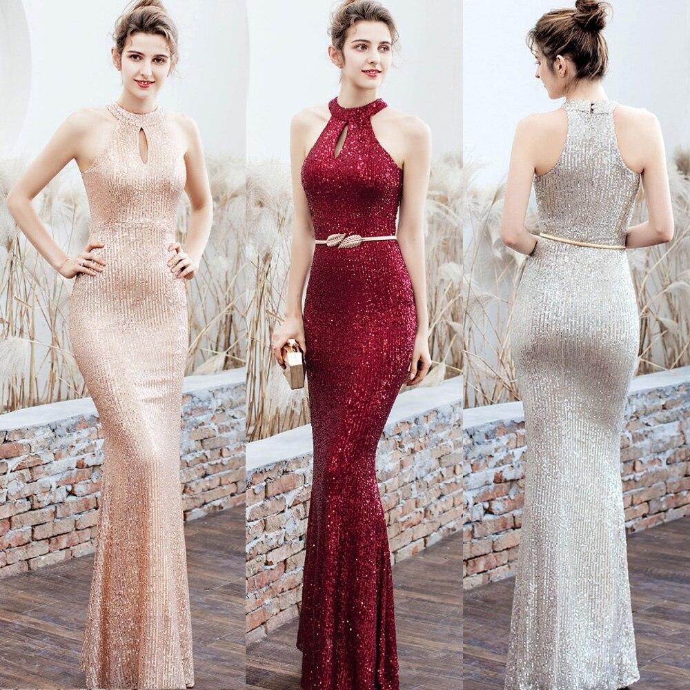 Célébrité formelle robes de soirée 2019 sexy jamais jolie nouvelle sirène licou sans manches paillettes longue maxi Robe de soirée robes Robe