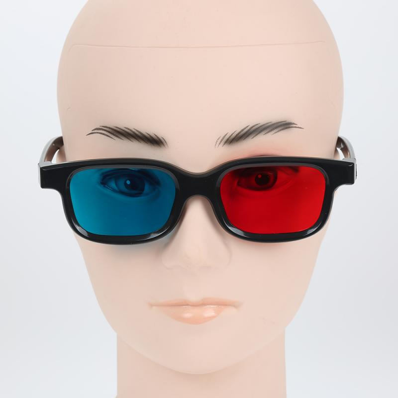 New Red Black Frame Universal 3D Plastic Glasses/Oculos/Red Blue 3D Glass Anaglyph 3D Movie Game DVD Vision/cinema Red Blue 3d