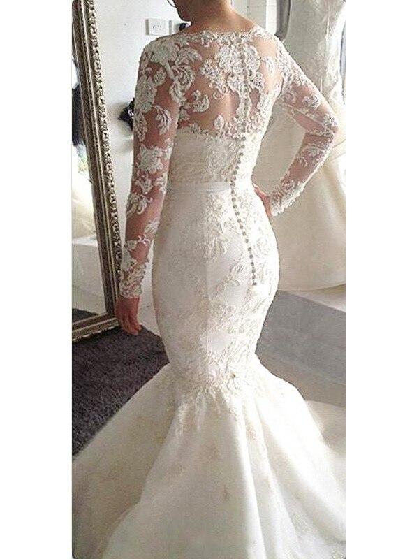 2020 Bride Dress A-Line/Princess Bateau Long Sleeves Tulle Court Train Applique Wedding Dresses For Wedding