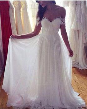 Simple Off Shoulder Wedding Dress Ruched Chiffon Short Sleeves Long Wedding Dress with Lace Applique Sweep Train Bridal Dress фото