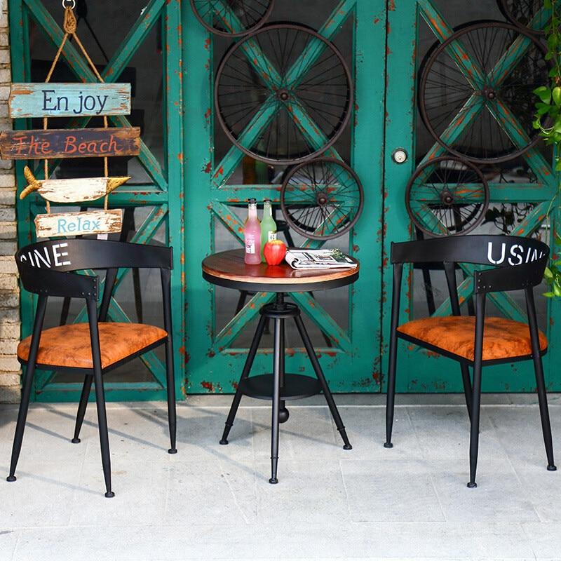 American Dining Chair Retro Creative Industrial Wind Loft Back Diffuse Coffee Chair  Restaurant Tea Shop Leisure Ring Chair