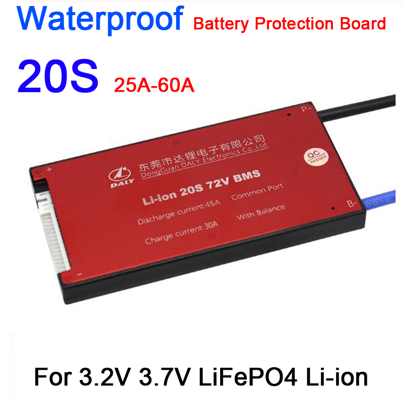 Waterproof 20S 60V 72V 30A 40A 50A 60A LiFePO4 Li-ion BMS Lithium Battery Protection Board W/ Balance 20S CELL 3.2V 3.7V