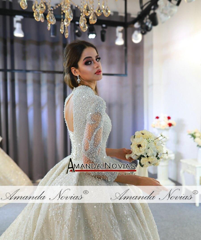 Image 3 - 2020 weeding dress amanda novias full pearls luxury lebanese wedding dressesWedding Dresses   -