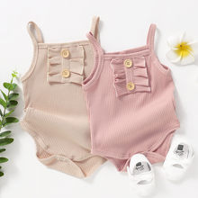 Newborn Baby Clothes Girls Romper Pure Color Ruffles Strap Romper Bodysuit Outfits Cotton Breathable Infant Baby Girls Bodysuit(China)