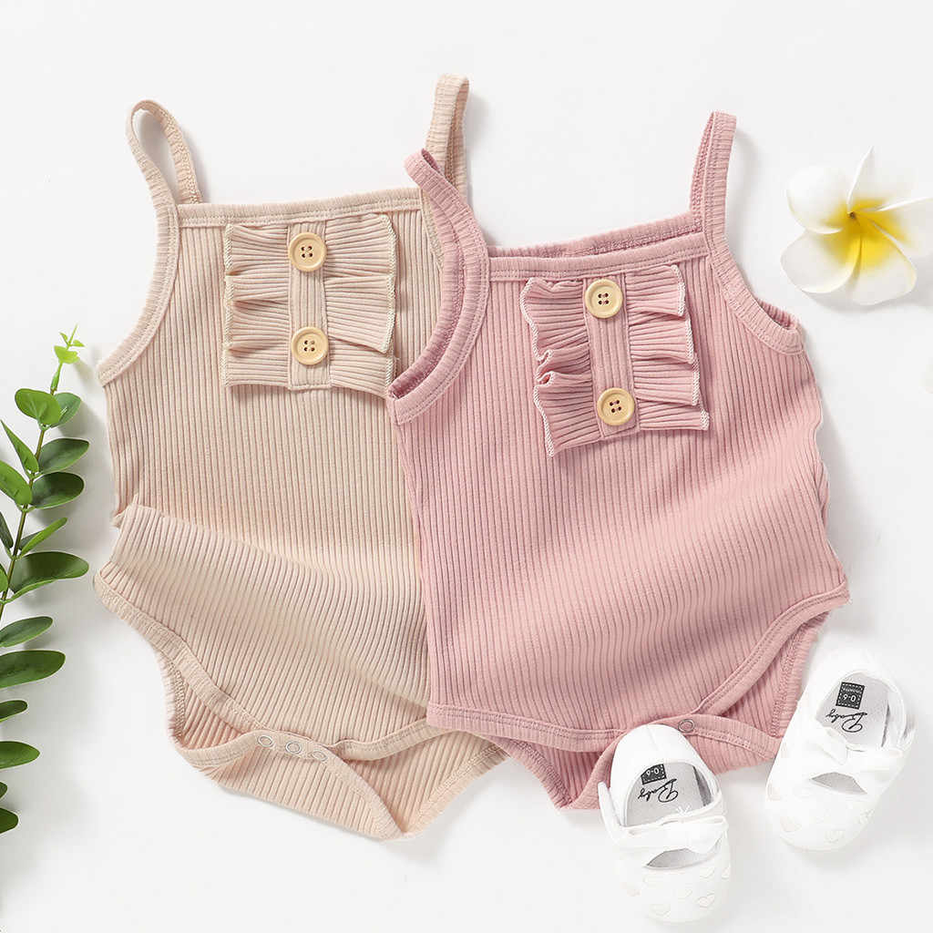 Newborn Baby Clothes Girls Romper Pure Color Ruffles Strap Romper Bodysuit Outfits Cotton Breathable Infant Baby Girls Bodysuit