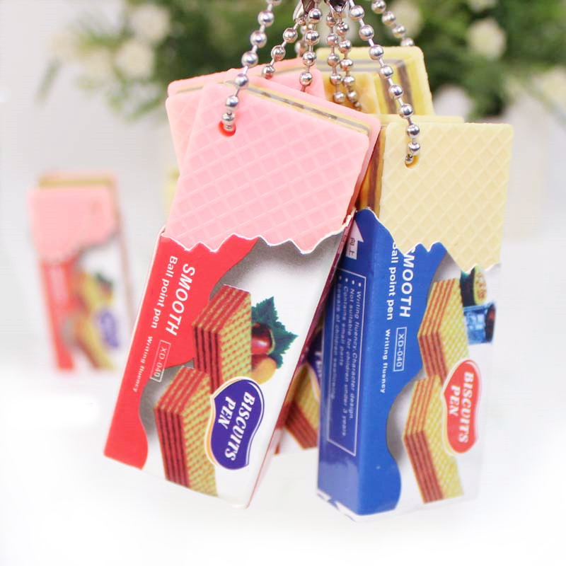 Pen Canetas Boligrafos Stylo School Lapiceros Pens For School Novelty Ballpoint Pens Balpen Funny Chocolate Blue Biscuits