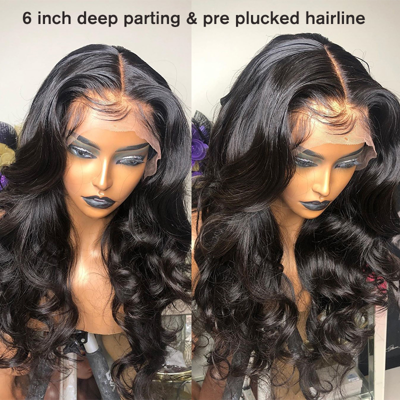 Image 5 - 13x6 Lace Front Human Hair Wigs Brazilian Body Wave Wig With Bangs 360 Lace Frontal Wig Pre Plucked With Baby Hair CARA Remy-in Human Hair Lace Wigs from Hair Extensions & Wigs