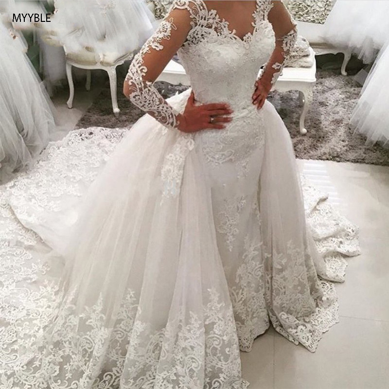 MYYBLE 2020 Luxury Lace Long Sleeve Mermaid Wedding Dress With Detachable Skirt Backless Court Train Saudi Arabia Bridal Wedding