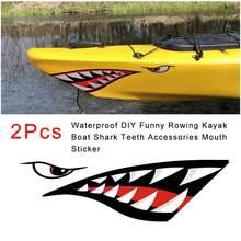 Autocollant en vinyle avec dents de requin, 2 pièces, accessoires pour Kayak, bateau à rames, autocollant pour bouche, décalcomanie gauche droite, étanche, drôle, DIY bricolage