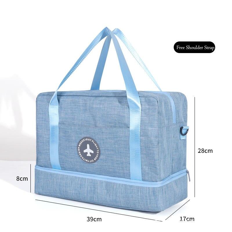 Hylhexyr водонепроницаемая обувь сумки большой емкости Оксфорд молния путешествия вещевой мешок одежды с разделителем для сухого и влажного сумки пакет для пляжа - Цвет: Синий