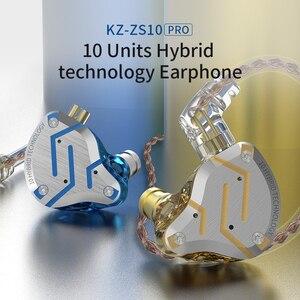 Image 4 - KZ ZS10 Pro mavi gürültü iptal kulaklık Metal kulaklık 4BA + 1DD hibrid 10 sürücüleri HIFI bas kulakiçi monitör kulaklık