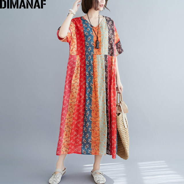 DIMANAF Summer Oversize Long Dress Women Clothing Print Floral Sundress Beach Elegant Lady Vestido Cotton Casual Loose Plus Size 3