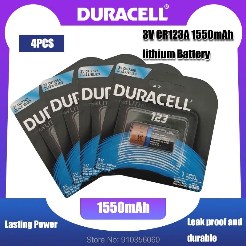 Литиевая батарея DURACELL CR123A, CR123A, CR123, 123A, CR 123, A123, CR17345, 16340, 3 в, 4 шт.