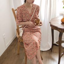 2019 Temperament Retro V-neck Floral Waist Long Dress Woman V-Neck Straight Fashion Sexy Women