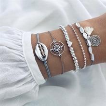 VAGZEB 5 pcs/set Bohemian Silver Color Heart Compass Tassel Bead Bracelet for Woman Dropshipping