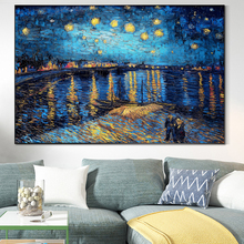 Starry Night by Van Gogh Canvas Paintings on the Wall Famous Art Posters Impressionist Pictures For Living Room Wall Decoration 50mm van gogh art paintings refrigerator stickers starry night sunflowers fridge magnet landscape glass crystal cabochon decor