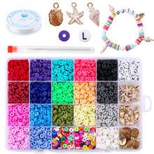 Perles d'espacement plates et rondes en argile polymère, 6mm, pour la fabrication de bijoux, Bracelets, collier, boucles d'oreilles, Kit de bricolage avec pendentif 4080