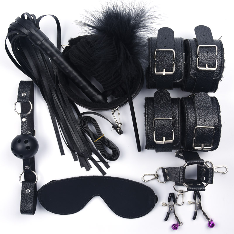 10 Pcs/set Sex Toys For Women Leather With Plush Handcuffs Whip Nipple Clamps Rope Bdsm Bondage Set Adult Games