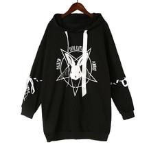 Women Sweatshirt Pullovers Hoodies Lace-Up Pentacle-Print Lolita Rabbit Harajuku Cute