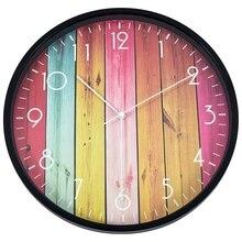 Wall Clock Vintage Wall Clock Decorative Indoor Kitchen Retro Wood Grain Wall Clock Round Clock 12 Inch eiffel tower round wood analog wall clock