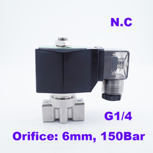 """GOGO 150Bar GSPG-06 2 способ водяной насос высокого давления Электромагнитный клапан 1/"""" BSP 220V 24V отверстия 6 мм N.C нержавеющая сталь 304 клапан"""