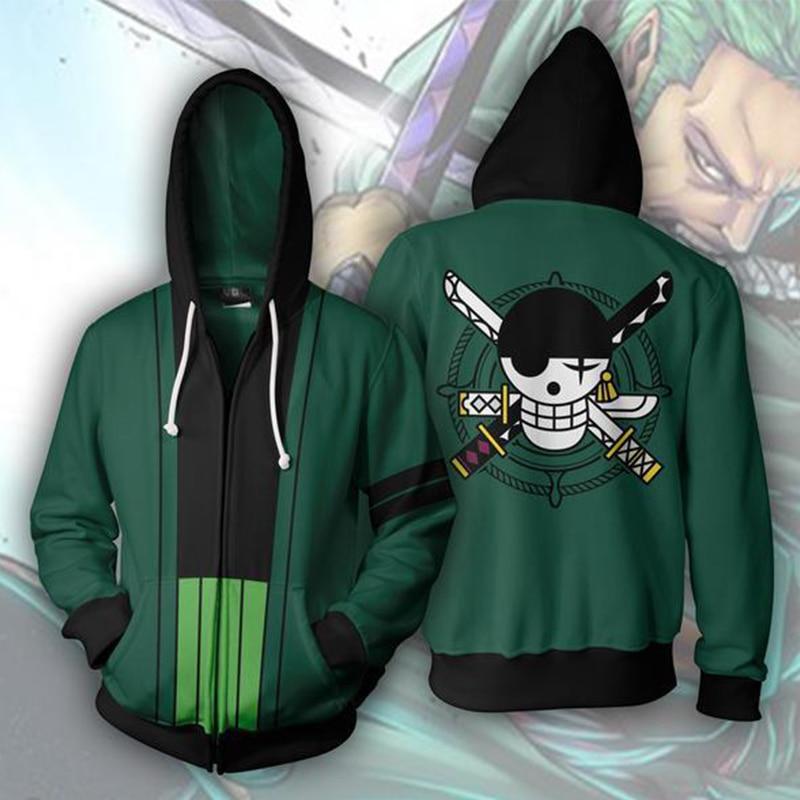 Men's Sweatshirt Anime Hoodie One Piece Roronoa Zoro Hoodies Men Cosplay Hoody Harajuku Hoodies Men Monkey D. Luffy Clothes Coat