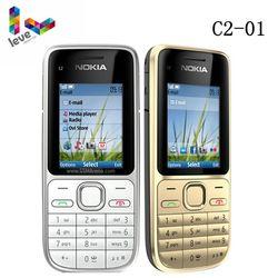 Original Nokia C2 C2-01 Desbloqueado GSM Telefone Móvel Inglês & Árabe & Hebraico & Teclado Russa Celulares Usados