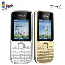 Nokia-teléfono móvil Original C2 C2-01, celular desbloqueado GSM con teclado en inglés y hebreo y logotipo en el botón usado