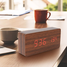 LED Electronic Clock Wooden Watch Table Voice Control USB/AAA Powered Bedside Digital Temperature Alarm Clock Table Decor Clock