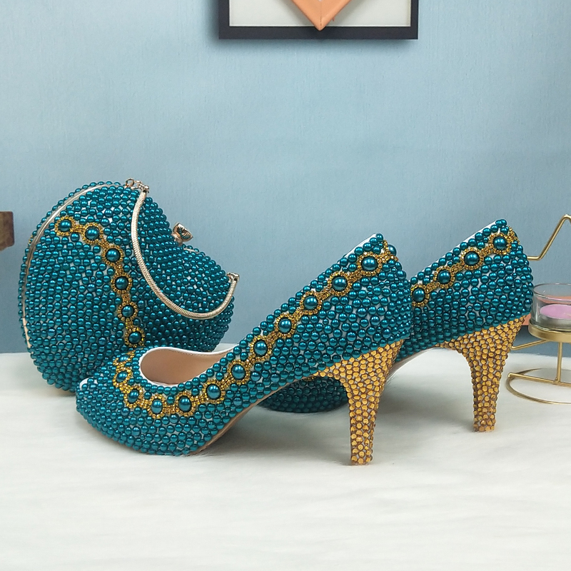 Teal Blue Pearl wedding shoes with