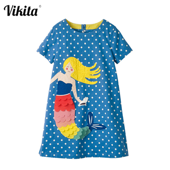 цена на VIKITA Baby Girls Dress Summer Floral Dress Princess Costume Unicorn Party Vestidos Kids Dresses for Girls Children Clothing