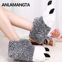 Fashion Winter Warm Women Home Slippers Animal Panda Paw Plush Slippers Female Thermal Soft Cotton Indoor Slipper House Shoes