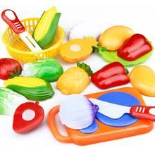 Dropshipping 12 sztuk zestaw dzieci zabawka kuchenna plastikowe owoce warzywa jedzenie cięcia udawaj zagraj wczesna edukacja dzieci zabawki