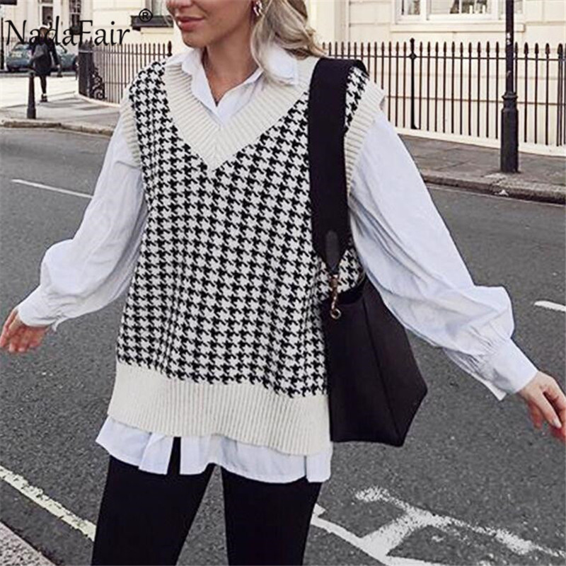 Nadafair V Neck Sweater Vest Women Houndstooth Autumn Winter Casual Knitted Waistcoat Jumper Korean Oversize Sweater Pullovers(China)