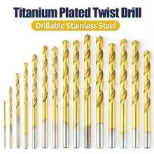 10Pcs Titanium Coated Twist Drill Bit High Quality Drill Bits Set HSS For Woodwork Metal Reamer Tools 1.0/1.5/2.0/2.5/3.0/3.5/MM
