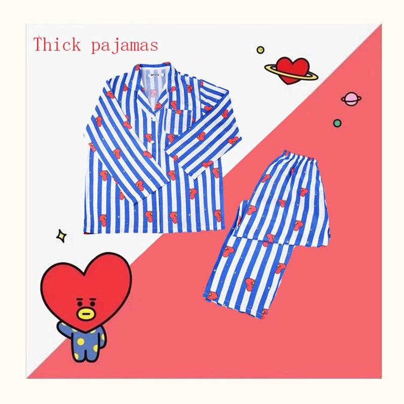 Sleepwear feminino coração listra impressão pijamas define feminino harajuku macio manga curta conjunto de pijama 2020 verão confortável
