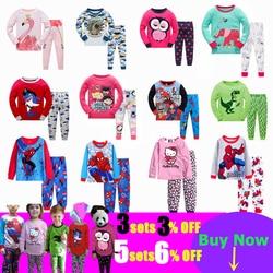 Kinder Casual Pyjamas Kleidung Set Jungen & Mädchen Cartoon Nachtwäsche Anzug Sets Kinder Langen ärmeln + Hose 2- stück Baumwolle Pyjamas Sets